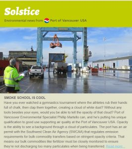 Read the latest issue of the Port of Vancouver USA's Solstice newsletter